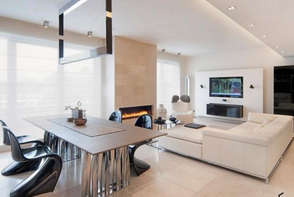 Светлая гостиная с двумя зонами