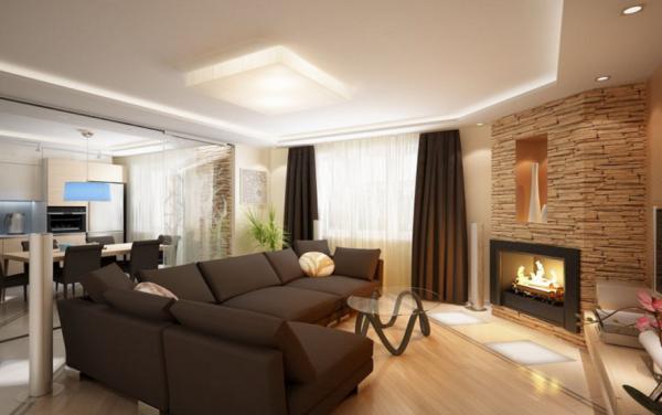 угловые электрические камины в интерьере гостиной фото