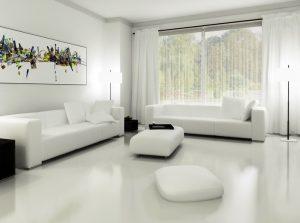белый интерьер в гостиной