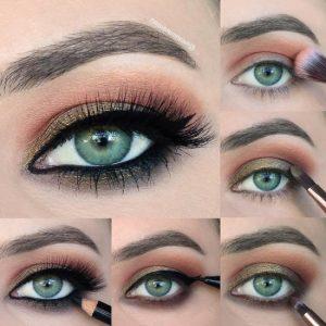 смоки айс для зеленых глаз пошагово